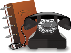 Icon of telephone and directory