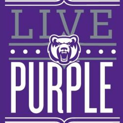 Icon of UCA Bear head and Live Purple text