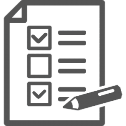 Icon of a piece of paper with checkmarks