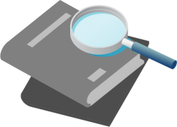 Icon of textbooks and magnifying glass